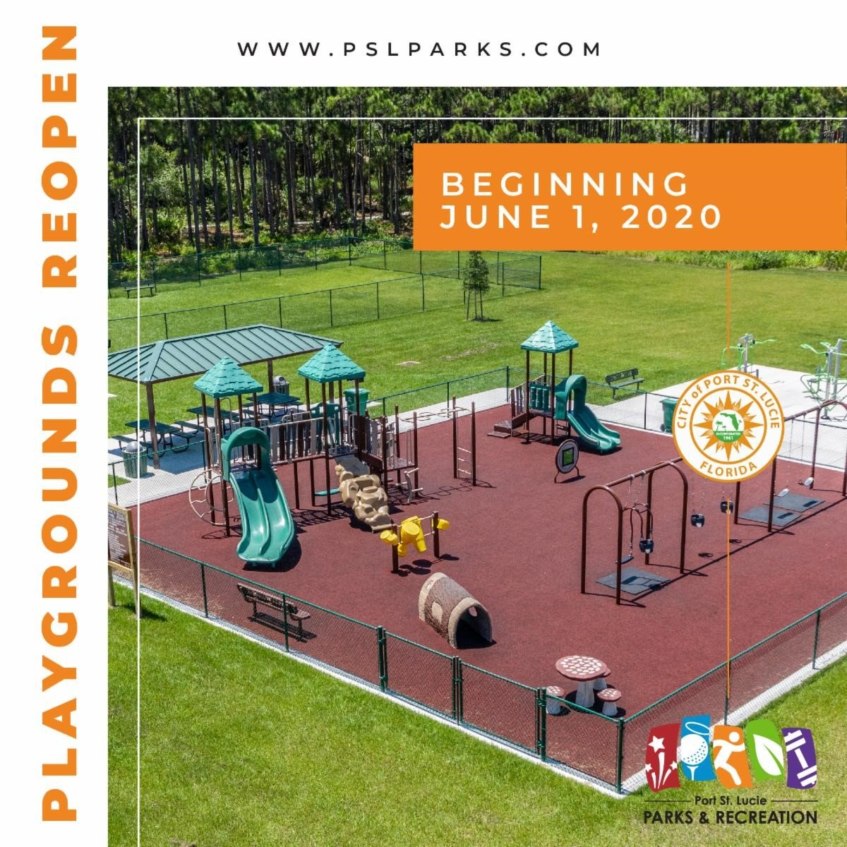 City of Port St. Lucie Graphic representing a playground and showing playgrounds reopen on June 1, 2020