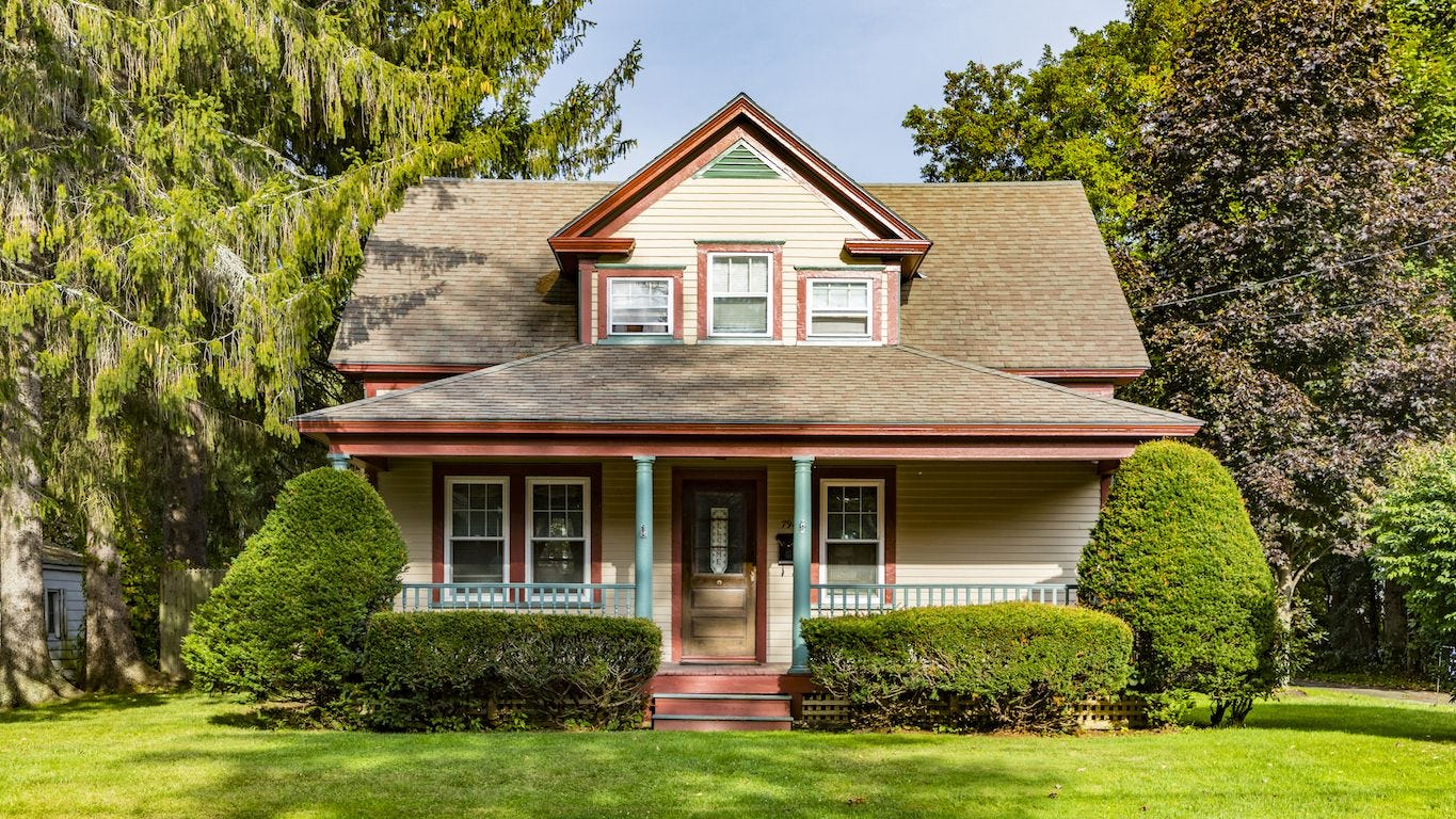A picture of the front of a craftsman style home