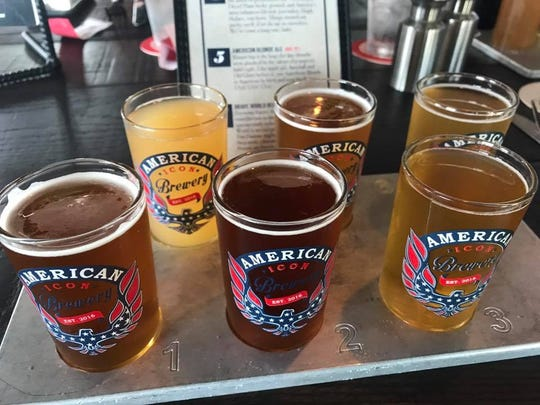 A flight of 6 American Icon Brewery craft beers for the Beer Olympics.