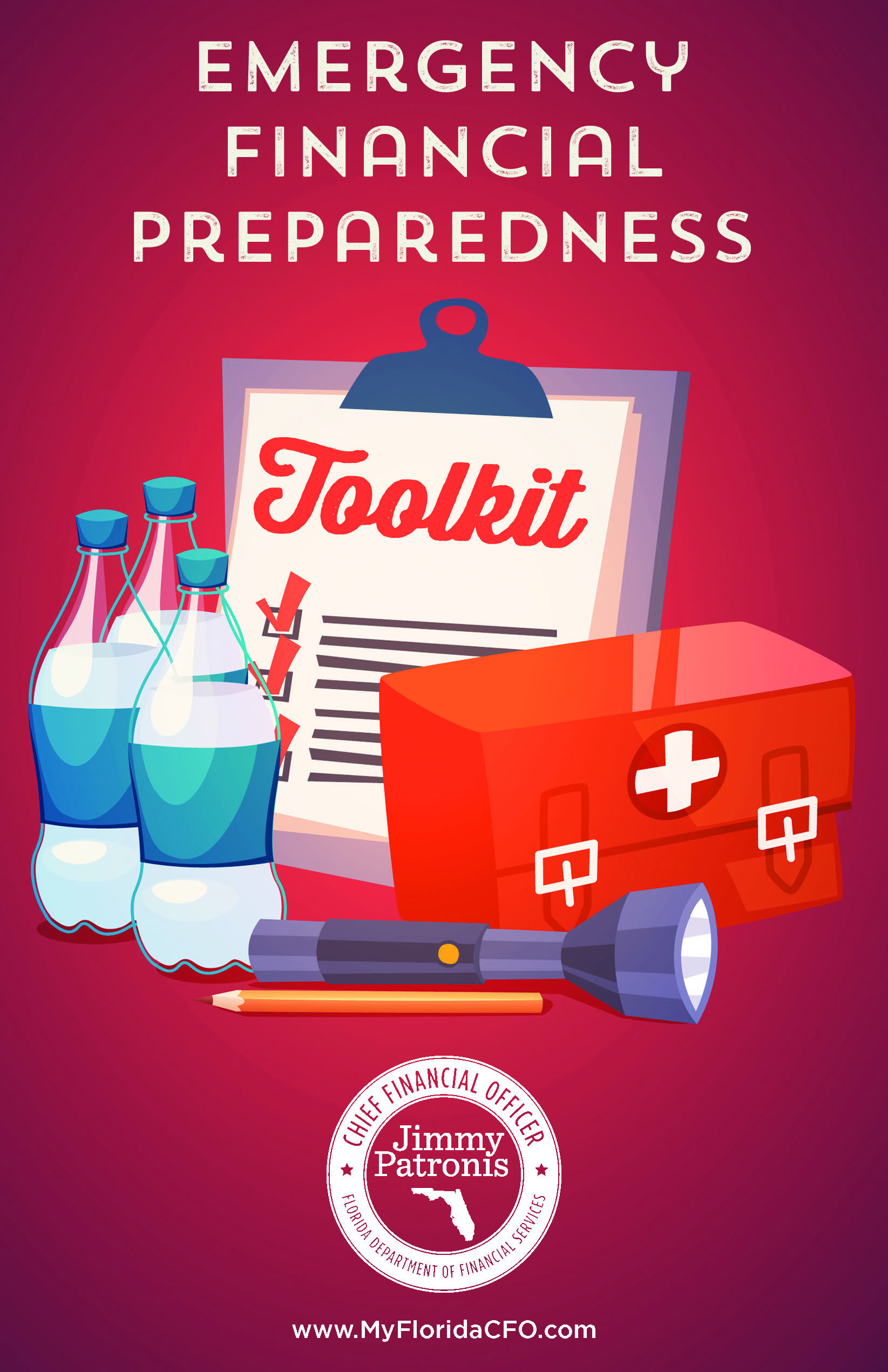 Graphic representing the emergency Financial Preparedness Toolkit from the MyFloridaCFO.com page.