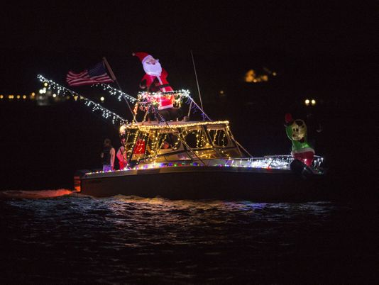 A decorated boat in the Stuart, Florida Christmas Boat Parade