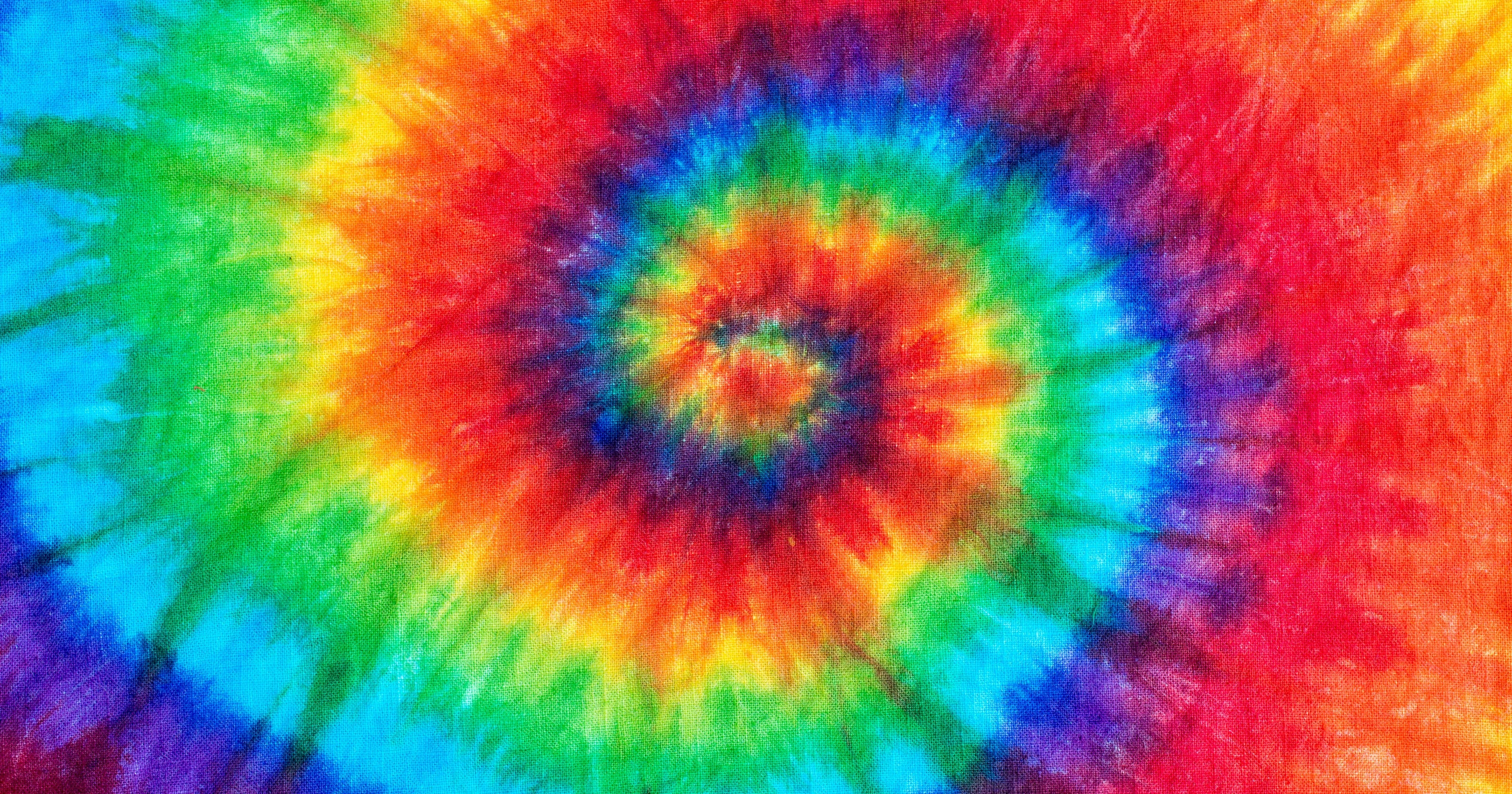 Colorful circular tie-dye on fabric.