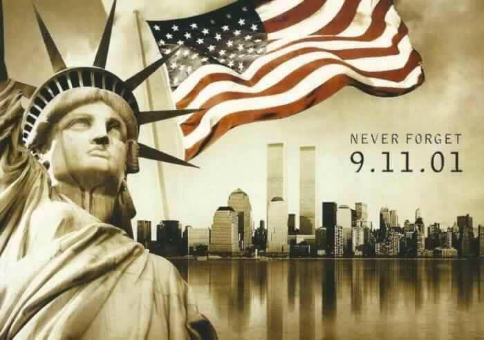 Graphic Representing the rememberance of the Twin Towers in New York City, September 11, 2001.