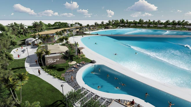 A visualization of the WaveGarden at Willow Lakes on West Midway Road, Fort Pierce, a proposed Surfing and entertainment village.