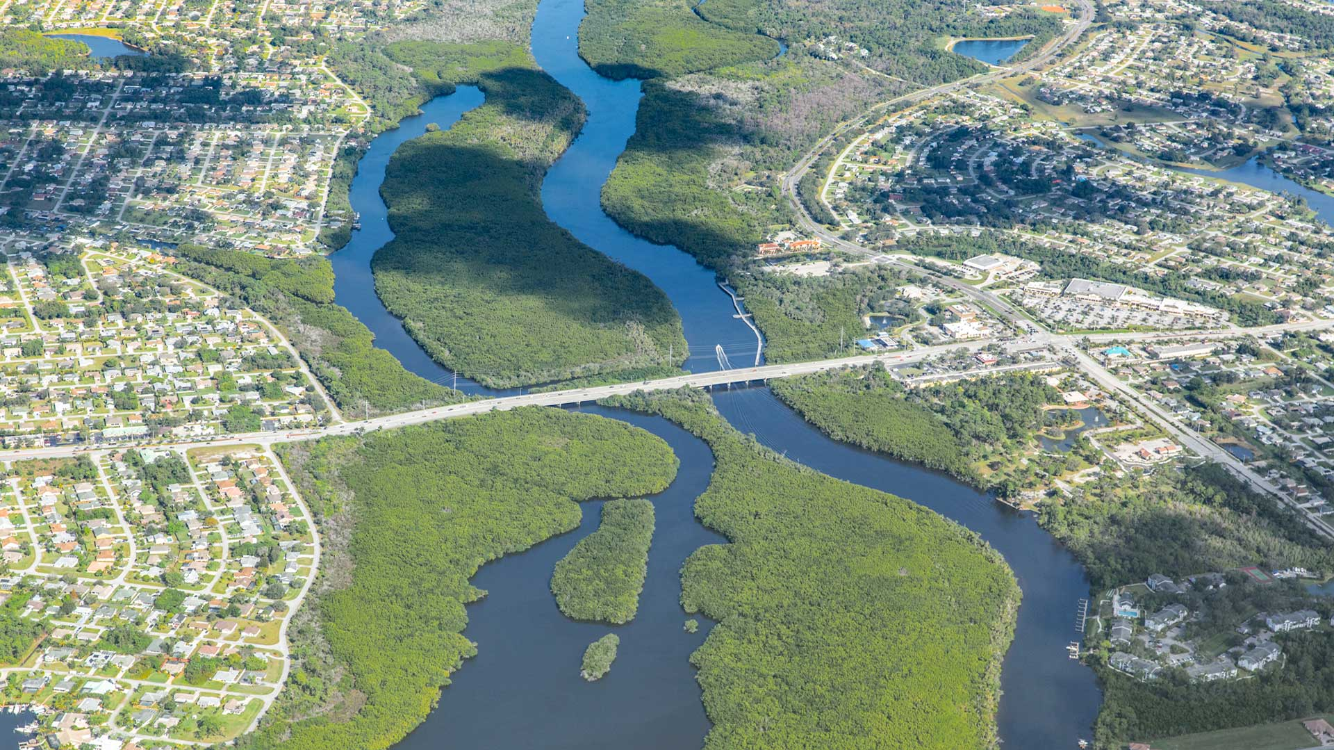Aerial image of Port St. Lucie and the St. Lucie River. Port St. Lucie - the ideal place to move to!