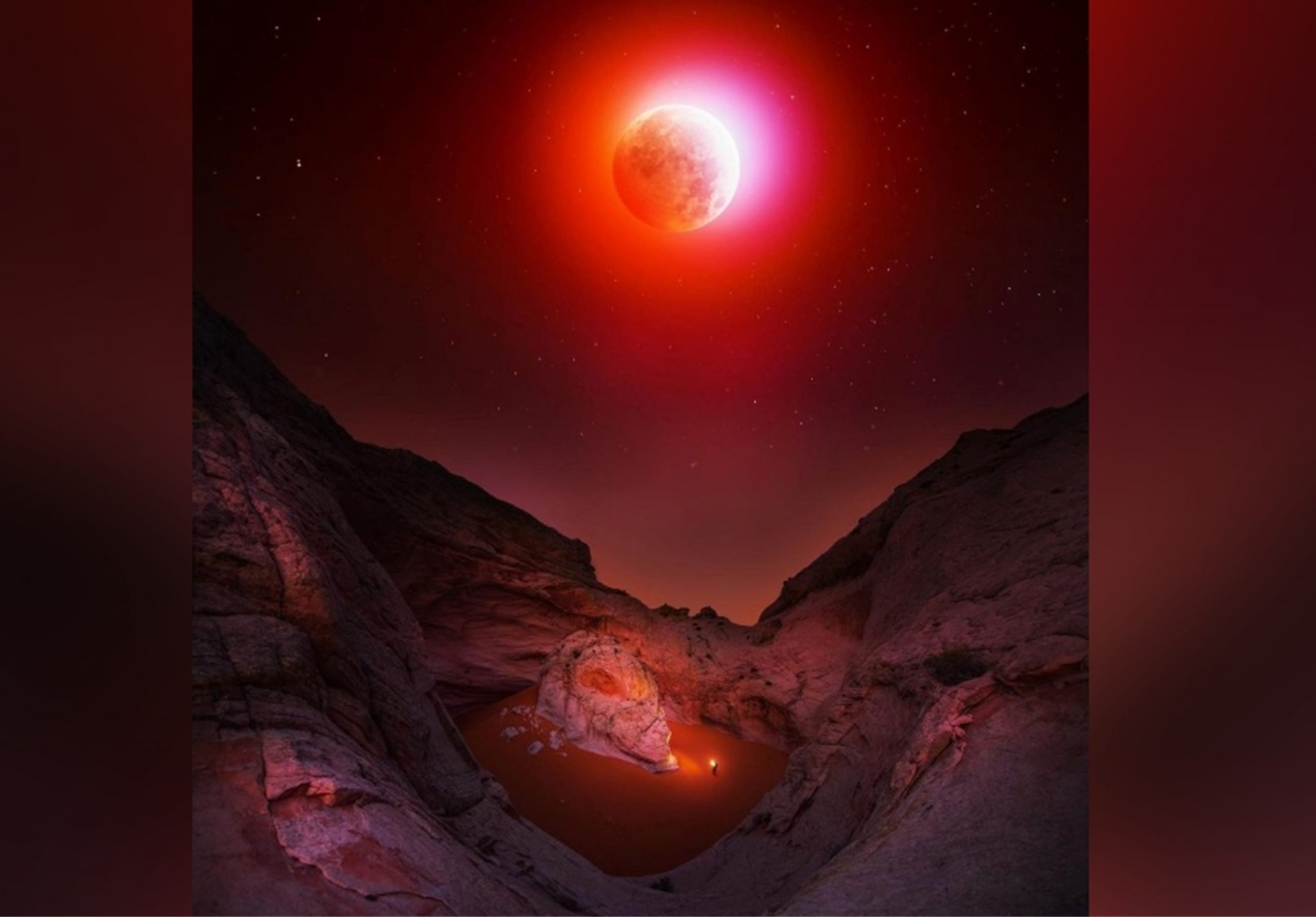 Beautiful picture of the recent Super Flower Blood Moon eclipse