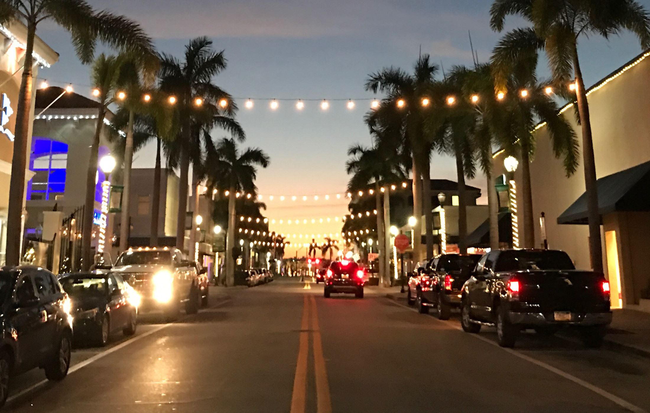 Picture of Downtown Fort Pierce 2nd Avenue at Night