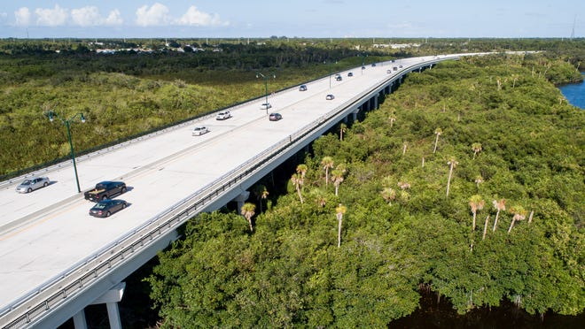 Drone photo of Port St. Lucie's recently opened Crosstown Parkway Bridge over the St. Lucie River