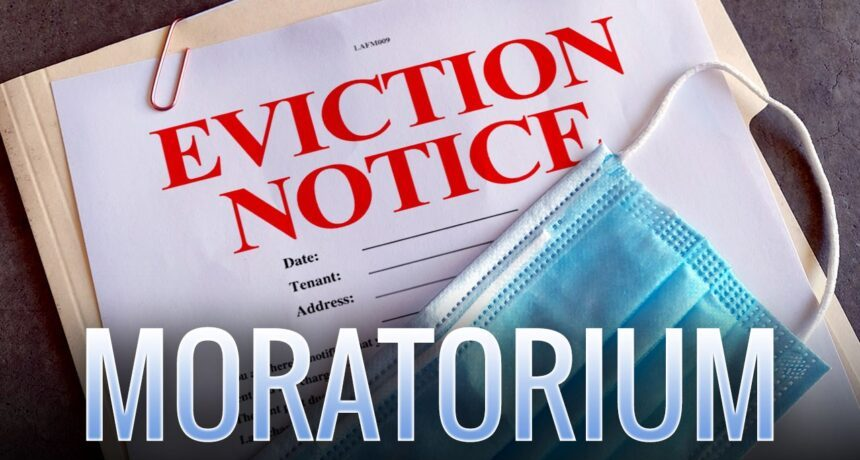 EVICTION MORATORIUM EXTENDED - Pictures of a file with the words Eviction Notice Moratorium and a PPP mask