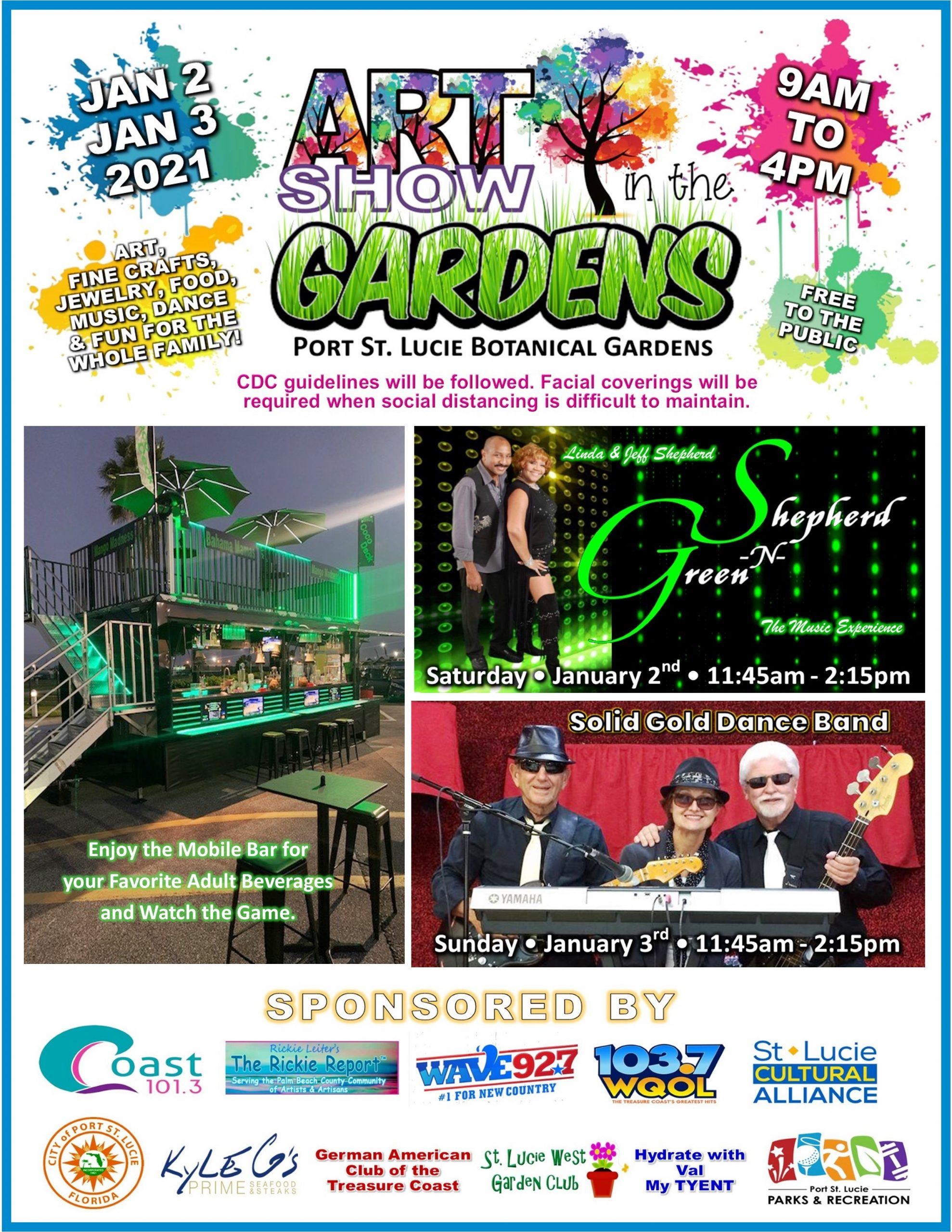 Graphic showing the entertainment for the 2nd Annual Art Show in the Gardens, January 2 and 3, 2021 at the Port St. Lucie Botanical Gardens.