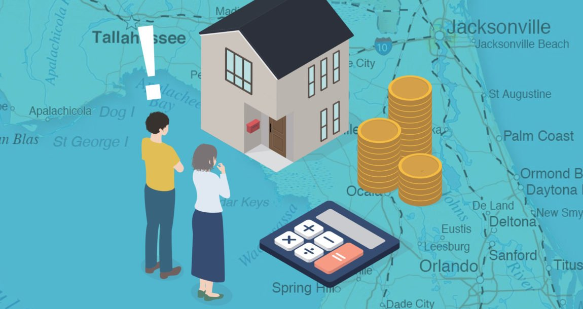 Graphic of a Florida map with the image of a man and woman looking at a home, file of coins and a calculator, representing Citizens Florida Insurer growing.
