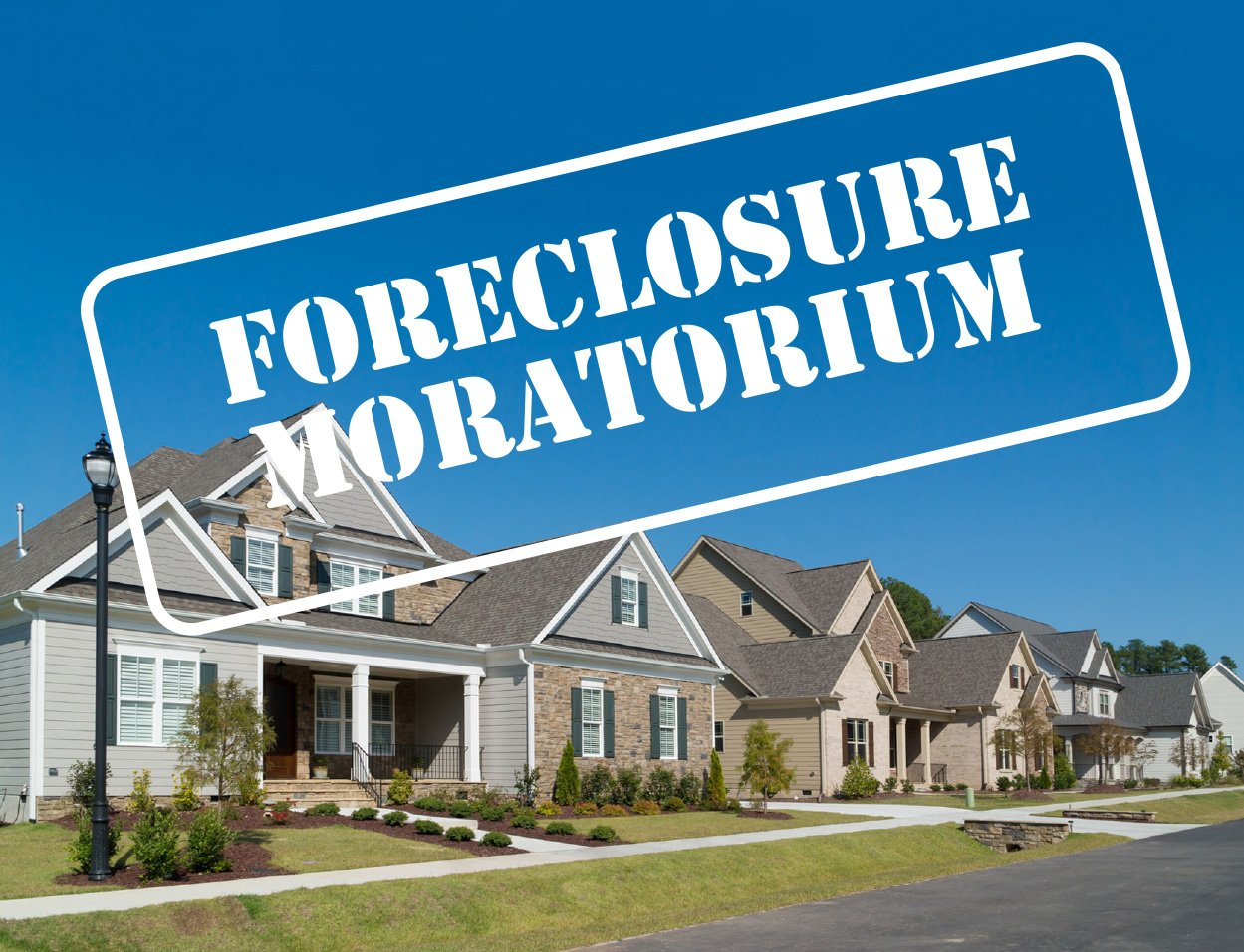 Graphic representing foreclosure moratorium showing houses in the background