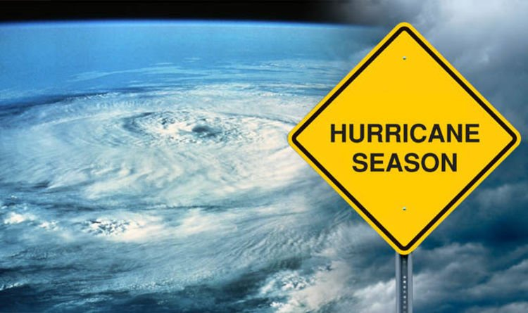 Graphic of Hurricane Season showing a satellite picture of a storm and a sign