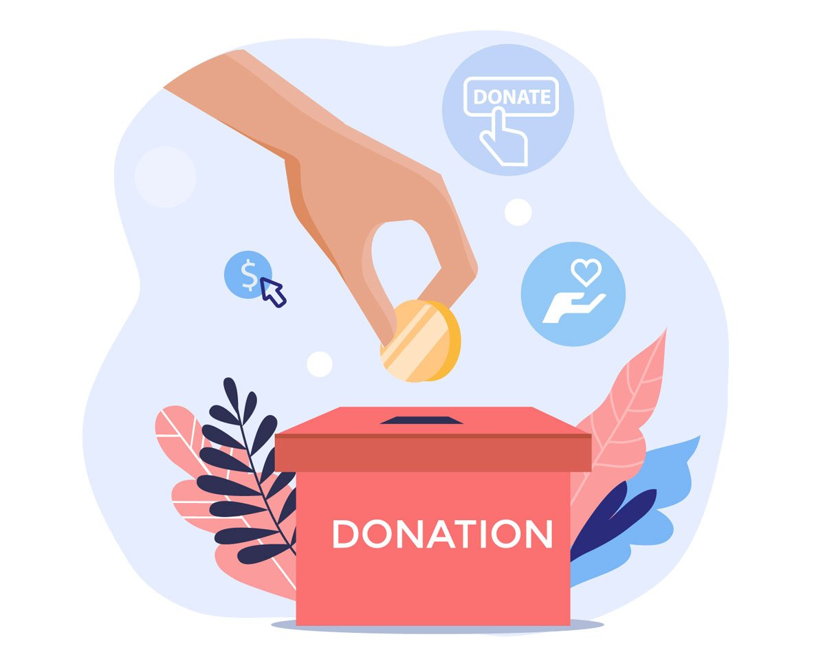 Image representing to donate with Hand putting a coin in a donation box.