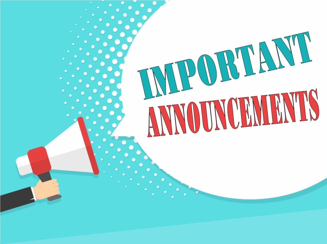 Important Announcements Graphic with hand holding megaphone.
