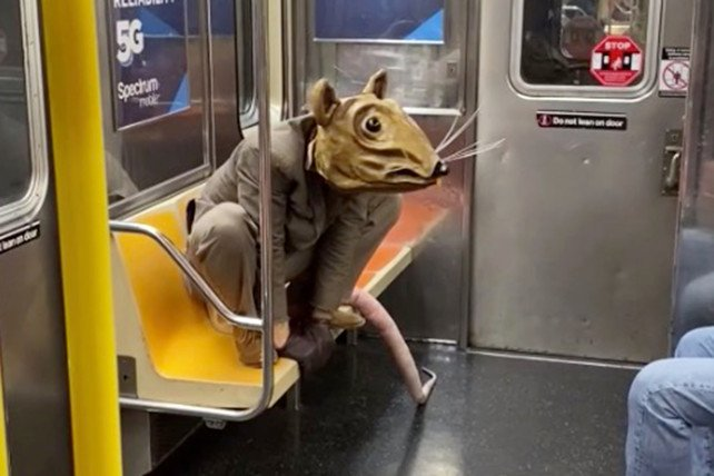 Man dressed as giant rat takes subway mask requirement to new heights. Picture of Buddy the Rat on a New York Subway.