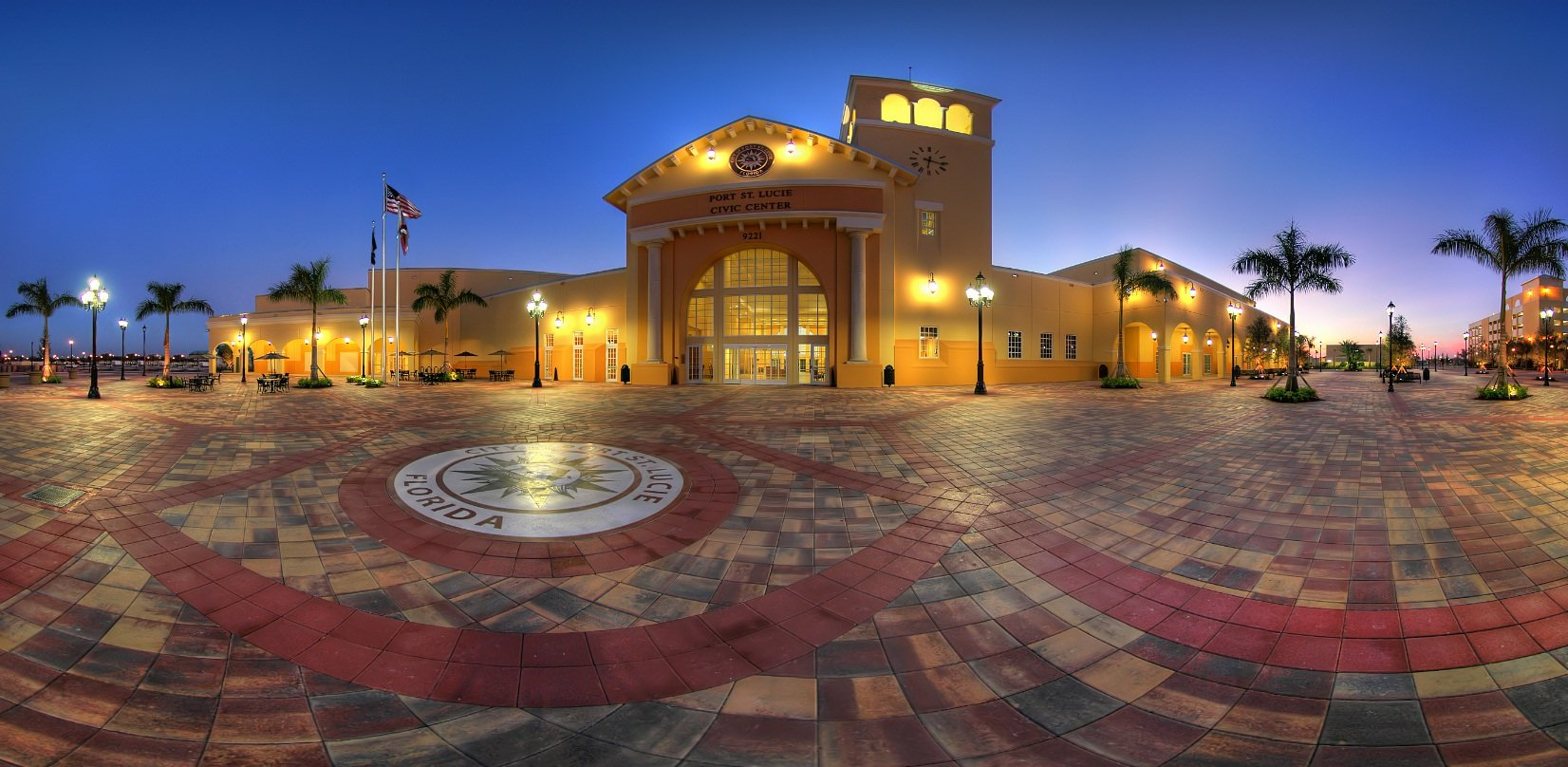 Picture of the front of the MidFlorida Credit Union Event Center site of the Port St. Lucie Home Show