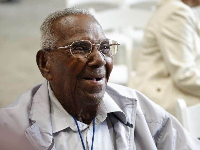 Photo of Lawrence Brooks taken at the National World War II Museum who is the Oldest Living World War II Vet