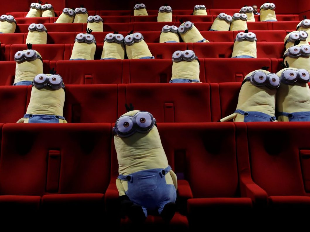 Minions toys are seen on cinema chairs to maintain social distancing between spectators at a MK2 cinema in Paris June 22, 2020