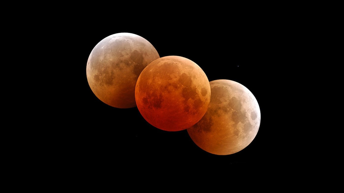 Picture from NASA of a blood Moon which will occur with a Full Lunar Eclipse and Super Moon Coming This Week