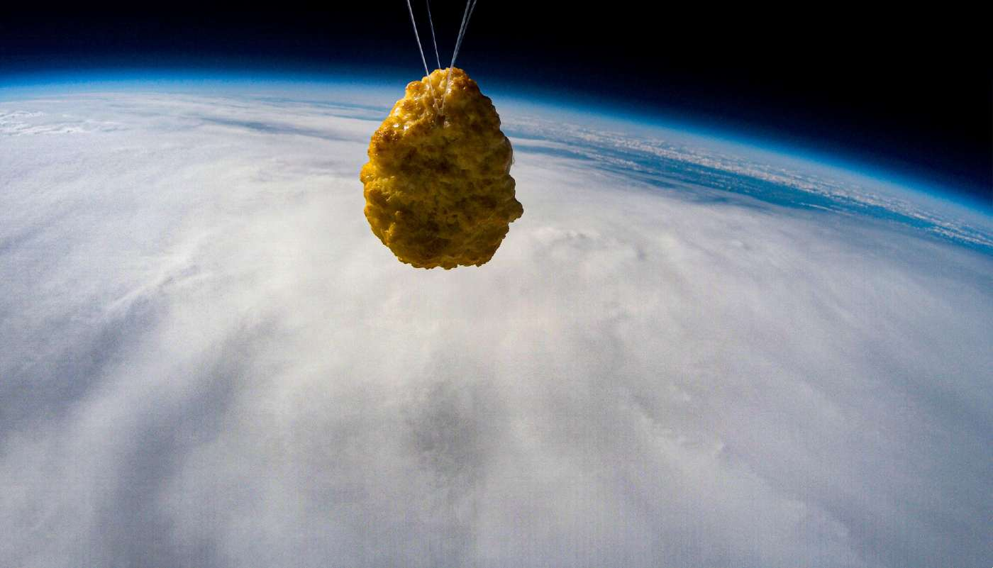 Picture of a Chicken Nugget being Sent Into Space