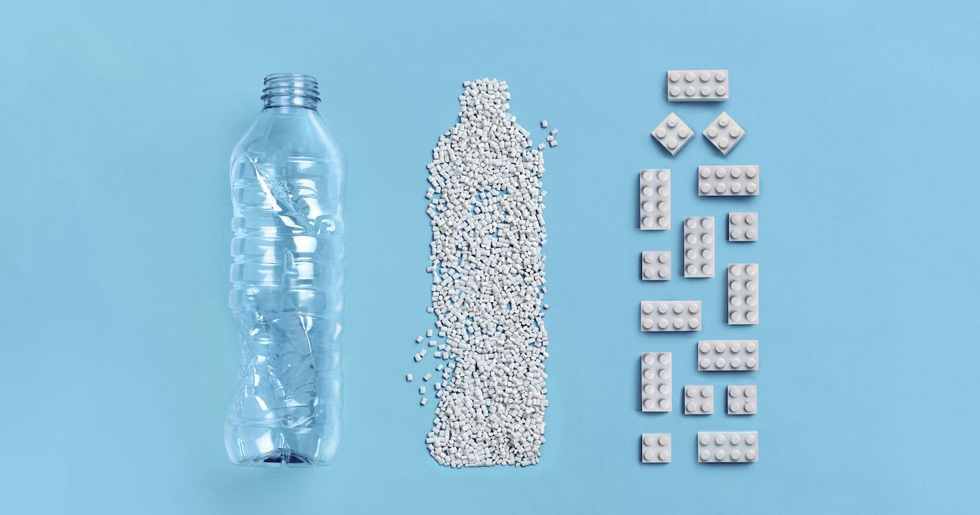 Picture of a Legos made from recycled plastic bottles