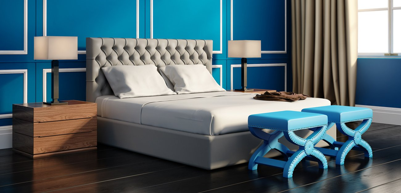 Picture of a modern Bedroom with a blue wall to demonstrate a Wall Color Preferences Shift Toward a Brighter Future