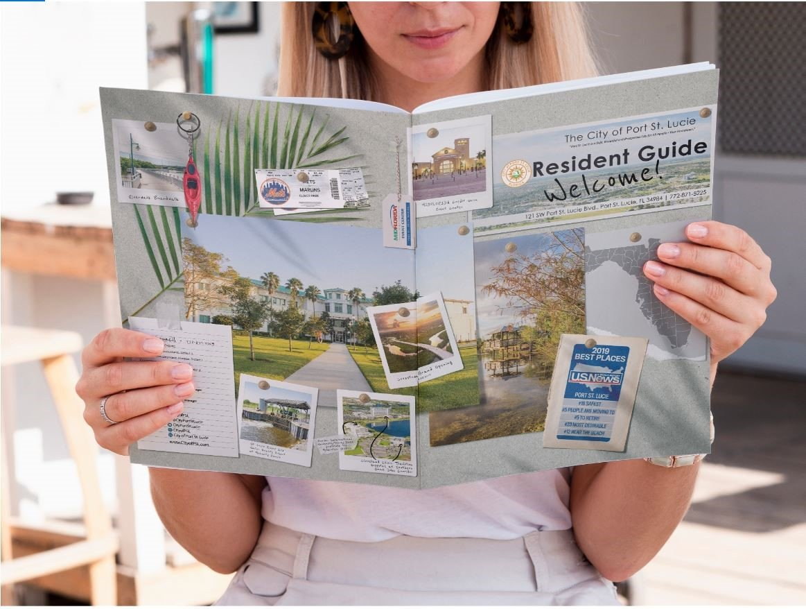 Picture of a woman holding the new City of Port St. Lucie Residents Welcome Guide