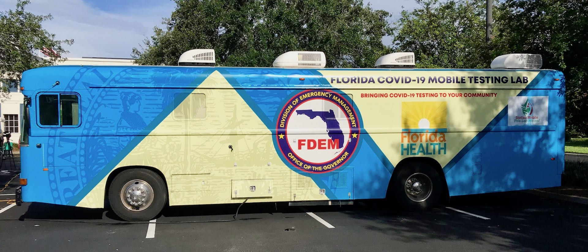 Picture of the COVID 19 Mobile Testing Bus Lab