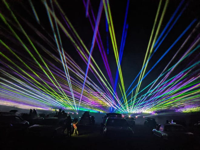 Picture of the Drive-in laser light show at the St. Lucie County Fairgrounds