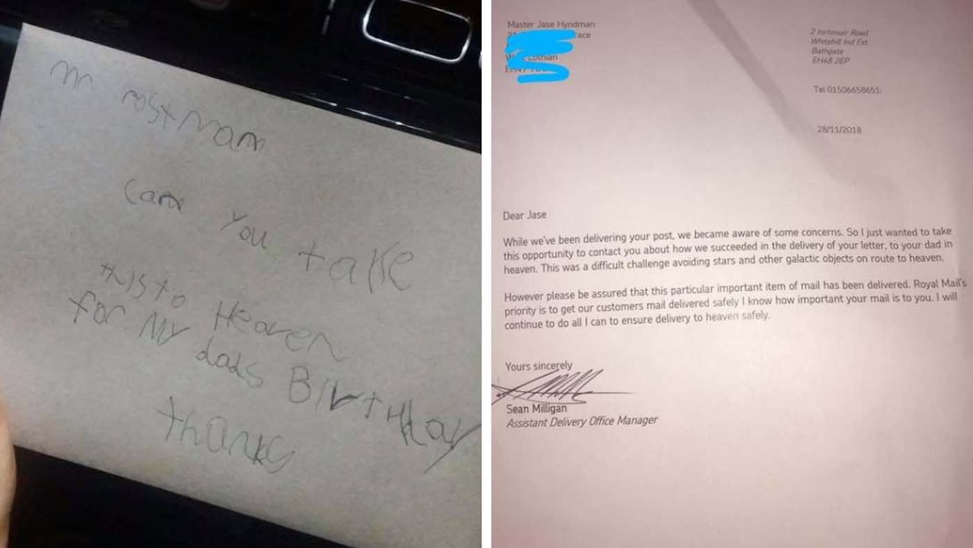 Letter from a child to his dad in heaven and the post service's rely they were able to deliver his letter.