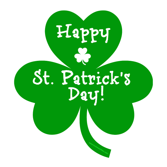 3 Leaf Clover Graphic saying Happy St. Patrick's Day.