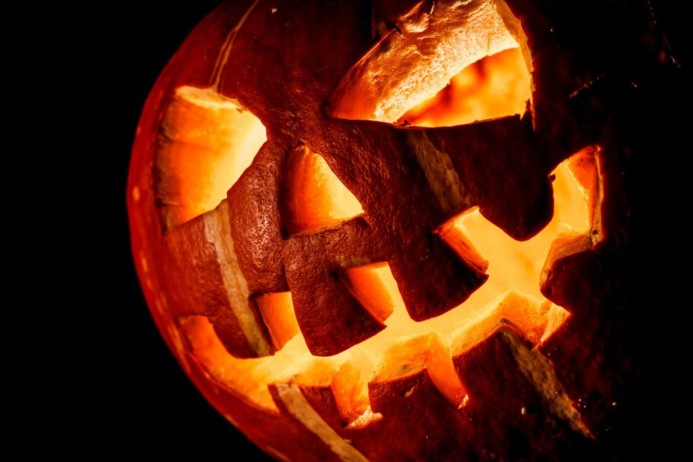 Lighted Halloween classic carved pumpkin