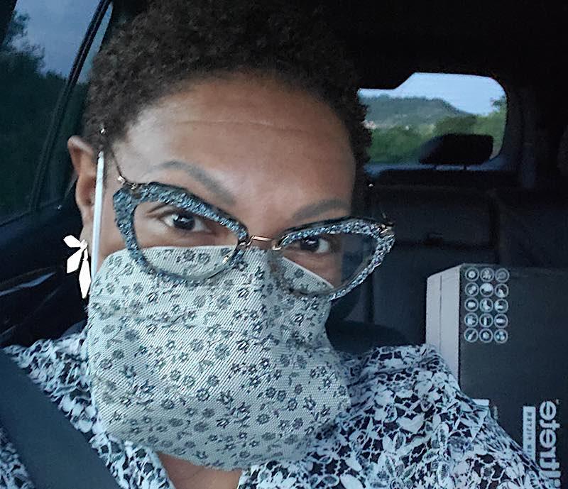 Tommye Austin wearing face mask courtesy of Tommye Austin