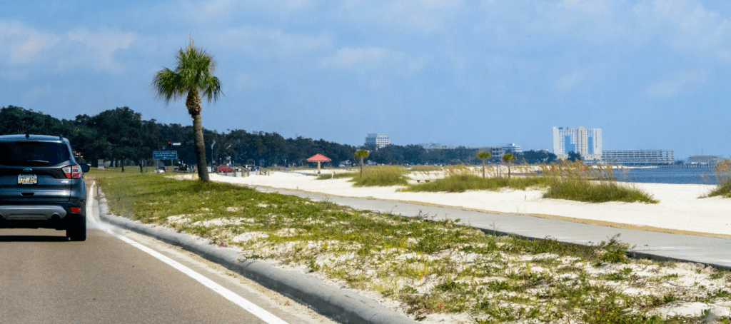 Picture from the roadway of a popular Florida Beach.