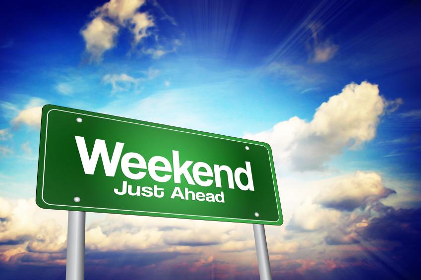 Weekend Just Ahead Green Road Sign for Treasure Coast Weekend Happenings