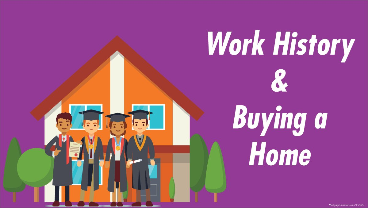 Graphic showing a home with college grads in front of it and the words, Work History and Buying a Home.