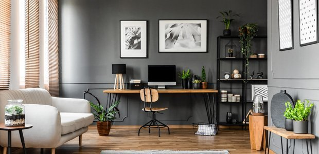 Study or den with Grey walls and modern furntire.