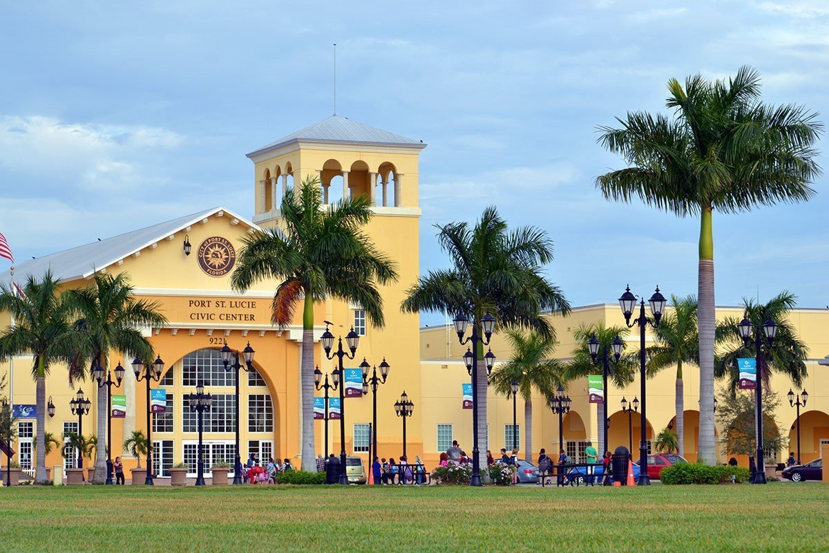 Picture of the front of the Port St. Lucie Civic Center.