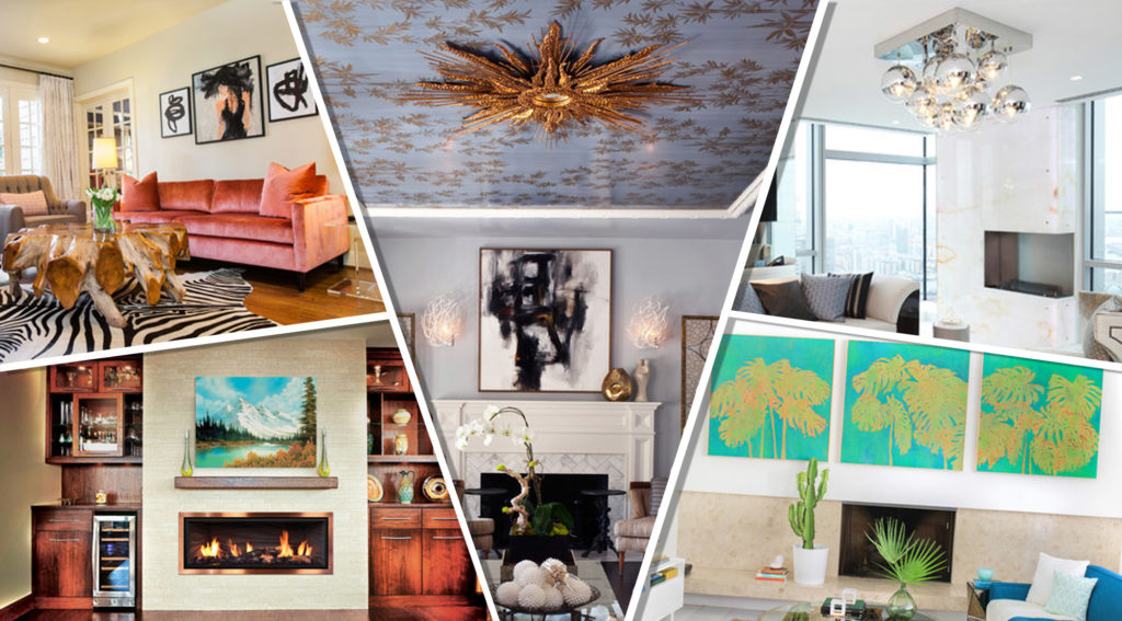 5 Photographs in a collage representing 7 of the hottest living room trends.