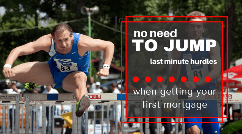 Two men running hurdles with the caption... No need to jump through hurdles when getting your first mortgage.