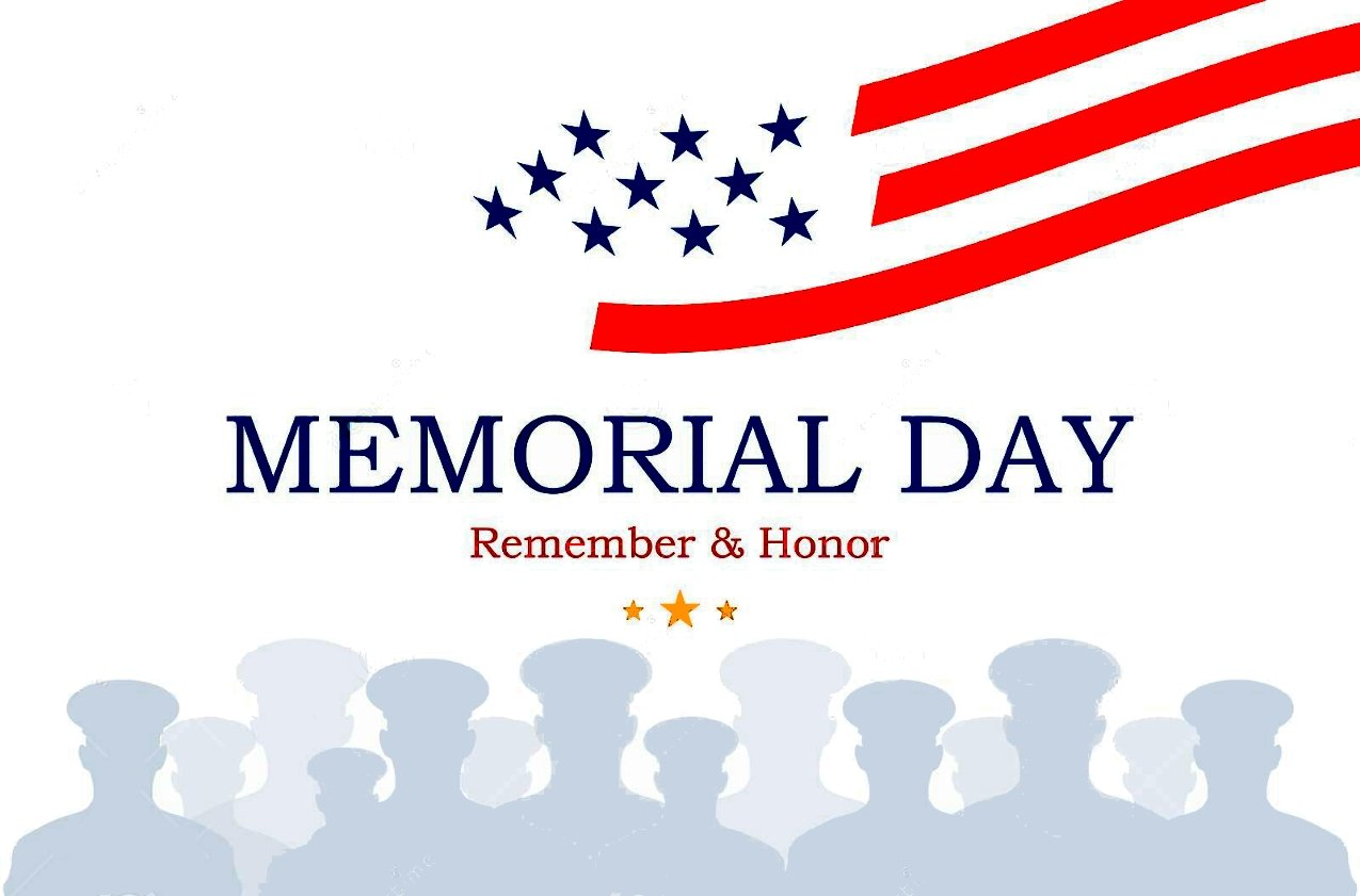 Happy Memorial Day Graphic with the words Memorial Day Remember and Honor.
