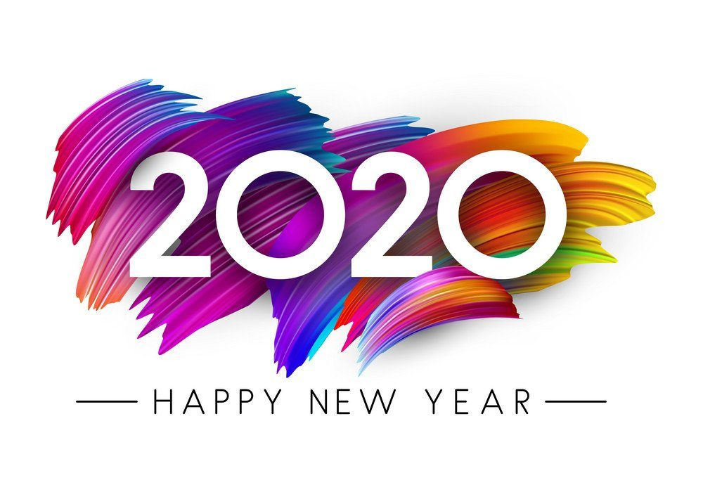 Happy New Year 2020 card with colorful gradient brush stroke design. Vector background.