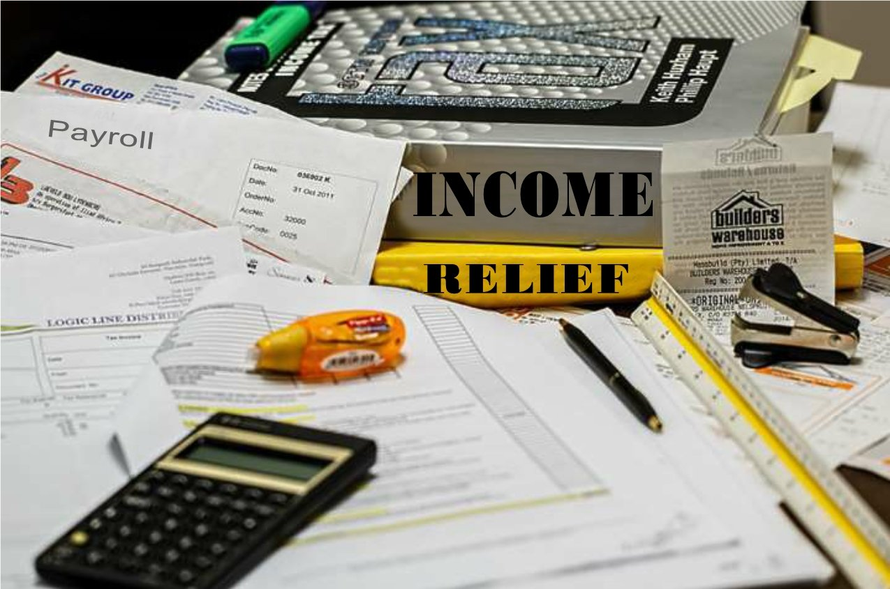 Income Relief Graphic with Calculator, Office tools, Books, Bills and Receipts.