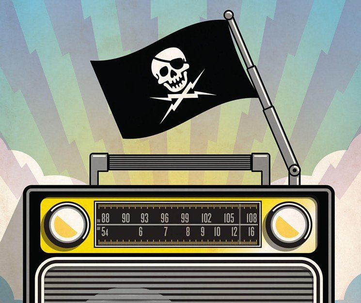 Graphic Representing Pirate Radio Stations - A portable radio with a pirate flag