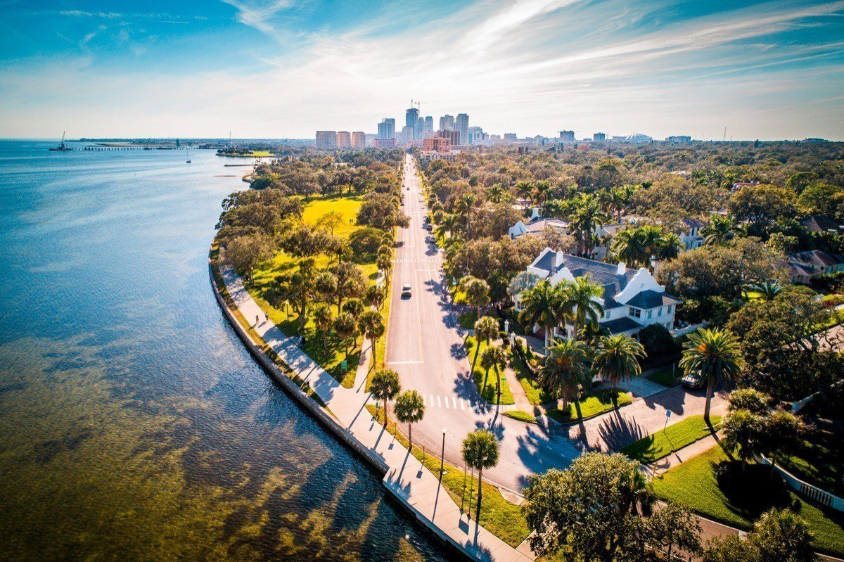 Picture of a St. Petersburg, Florida neighborhood and the downtown in the background.